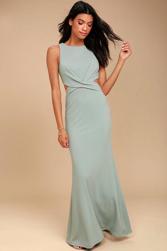 Sexy Grey Dress - Maxi Dress - Cutout Dress - Grey Maxi Dress ...