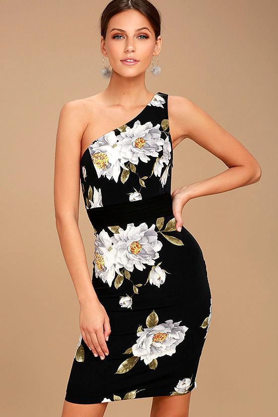 09965d5cb04c Chic Black Floral Print Dress - One Shoulder Dress - Sheath Dress -  76.00