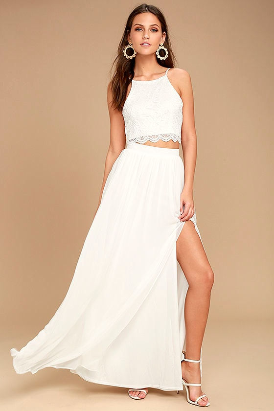 Midnight Memories White Lace Two-Piece Maxi Dress 1