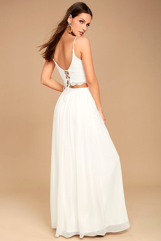 Midnight Memories White Lace Two-Piece Maxi Dress 2