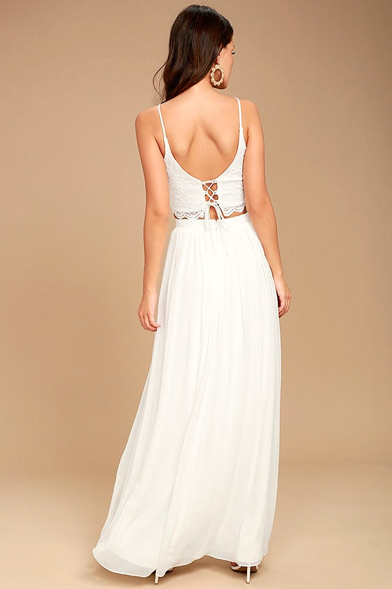 Midnight Memories White Lace Two-Piece Maxi Dress 3