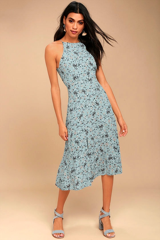 42062c9e8043 ASTR the Label Pascal - Light Blue Floral Print Dress - Midi Dress