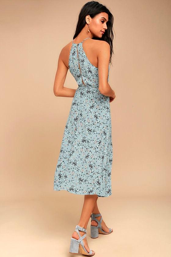 ab923148f07f ASTR the Label Pascal - Light Blue Floral Print Dress - Midi Dress