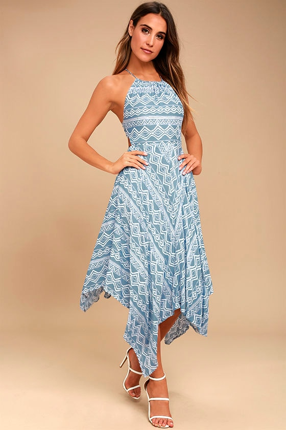 Moon River Dress - Slate Blue Print Dress - Midi Dress - $93.00