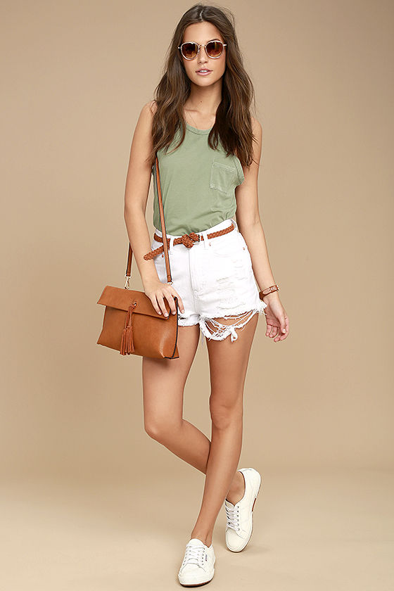b54cf4136e61a Others Follow Top - Washed Olive Green Tank Top - Sleeveless Top ...