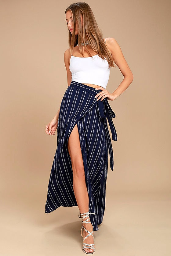Whole Wide World Navy Blue Print Wrap Maxi Skirt 1