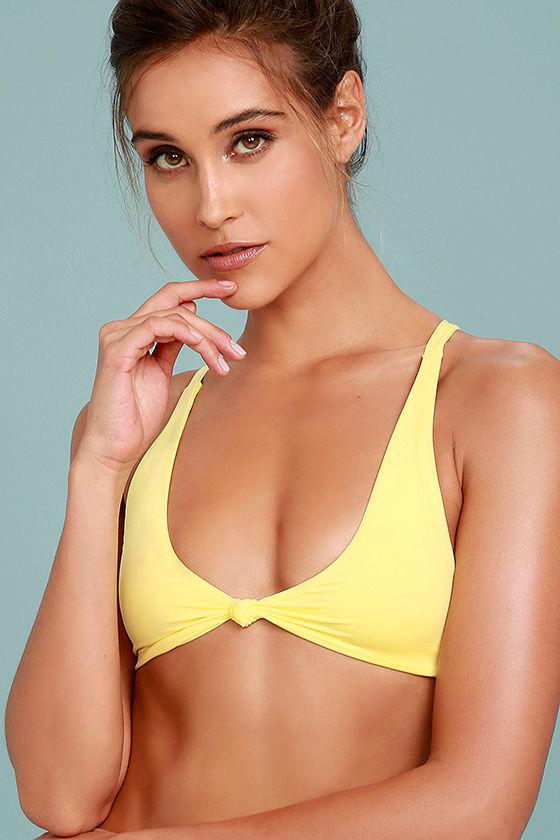 0775d07d53c Frankies Bikinis Malibu 2 - Yellow Bikini Top - Knotted Bikini Top - $85.00