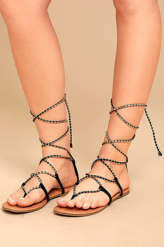 Emilia Black and Gold Lace-Up Flat Sandals 1