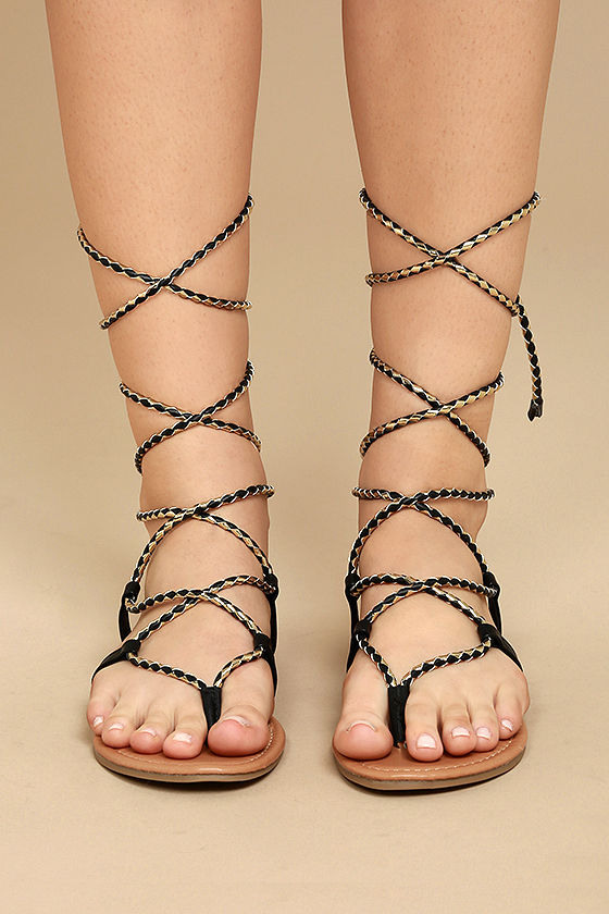 Emilia Black and Gold Lace-Up Flat Sandals 2