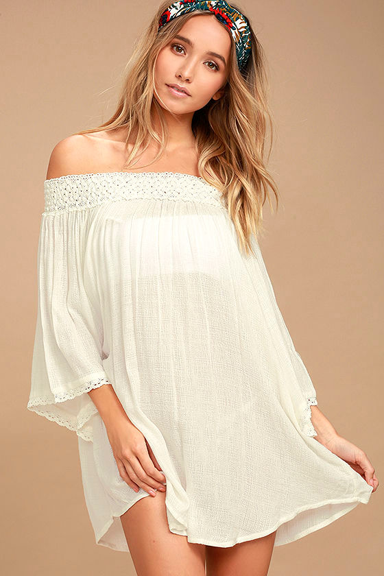 43c787f97c447 Billabong Easy Breeze - Ivory Cover-Up - Swim Cover-Up - Off-the-Shoulder  Top -  49.95