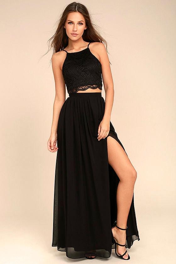 Midnight Memories Black Lace Two-Piece Maxi Dress 1