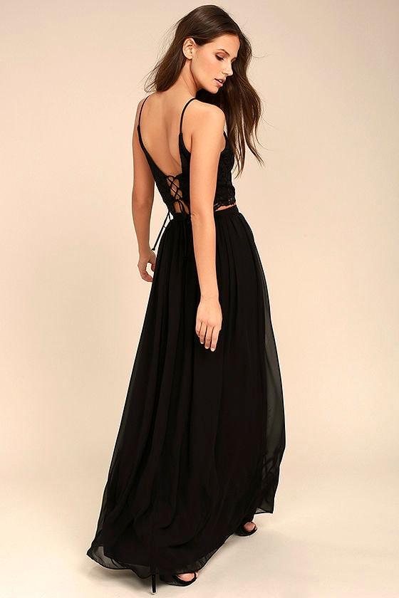 Midnight Memories Black Lace Two-Piece Maxi Dress 2