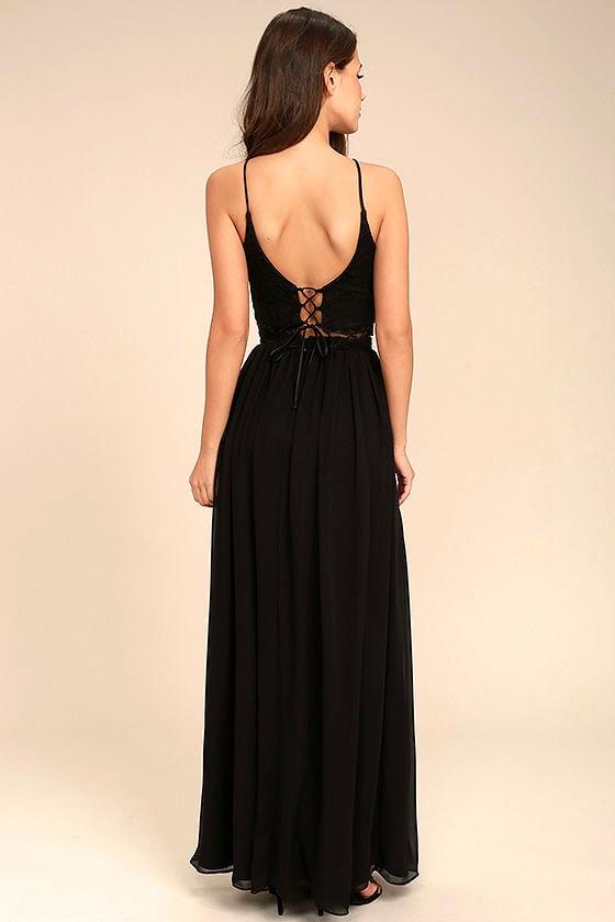 Midnight Memories Black Lace Two-Piece Maxi Dress 3