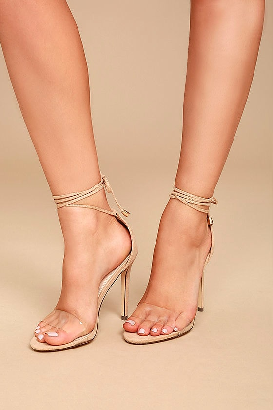 Ledah Nude Suede Lace-Up Heels 1