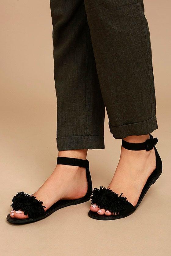 Cute Black Sandals - Vegan Fringe Sandals - Black Pompom Sandals -  24.00