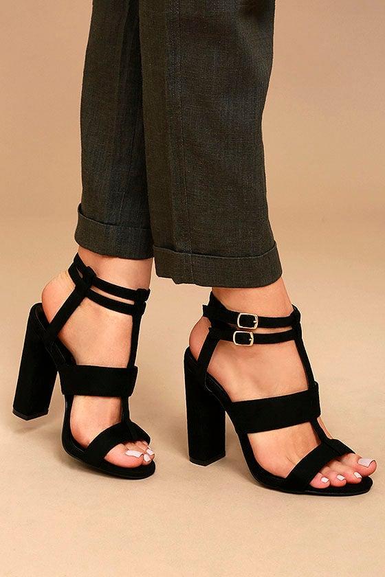 Idalia Black Suede Strappy Peep Toe Heels 1