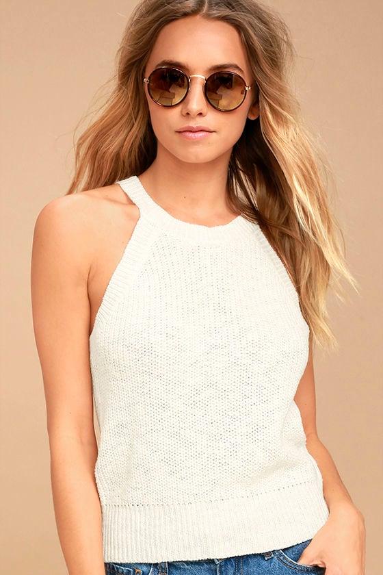 55f360444659f Cute Ivory Top - Tank Top - Sweater Knit Top
