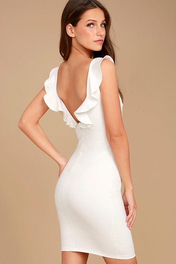 5580f86e42 Chic White Dress - White Bodycon Dress - Ruffle Back Dress -  54.00