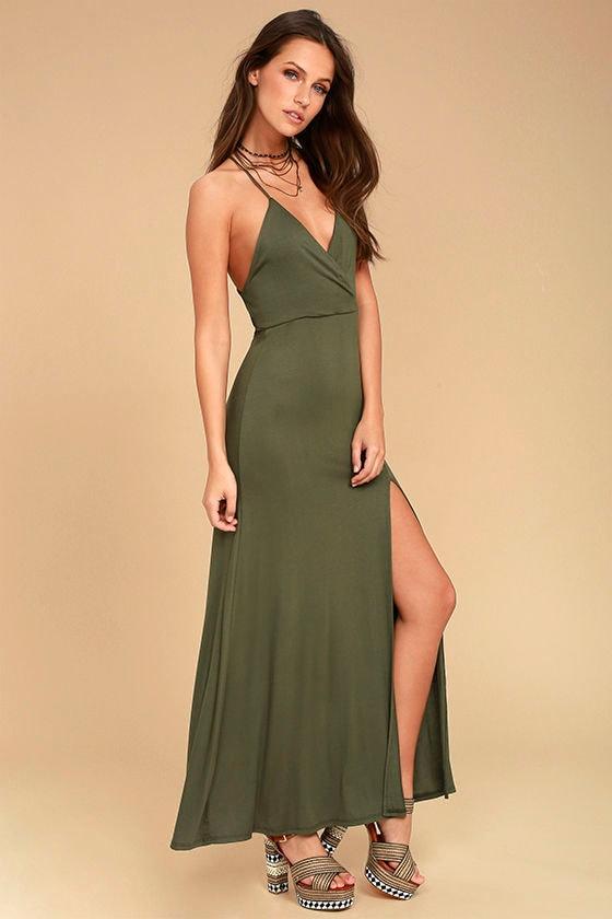 Desert Skies Olive Green Backless Maxi Dress 1