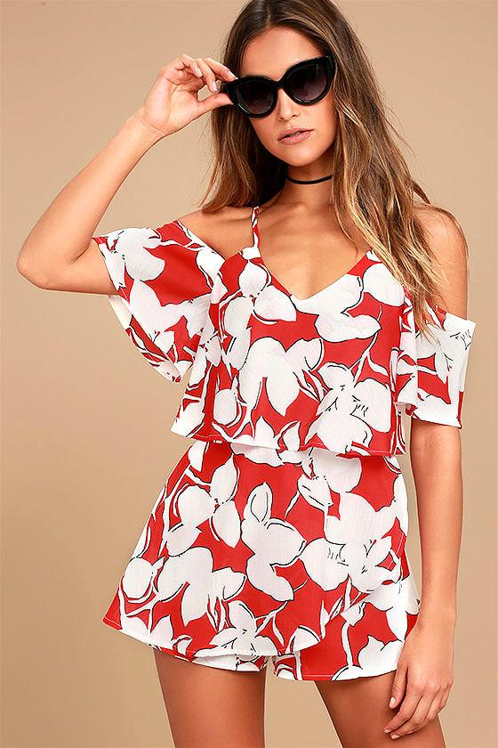Joa Skort Dress Red Floral Print Romper Off The Shoulder