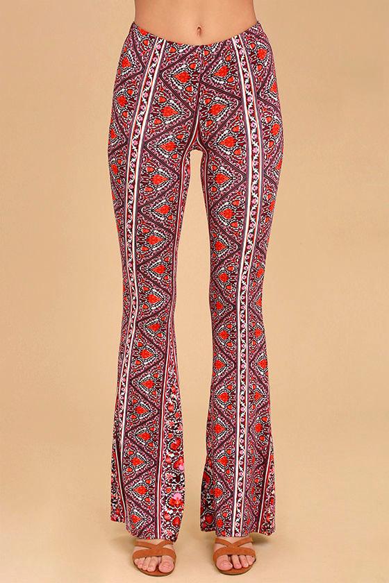 Billabong For Now Burgundy Print Flare Pants 2