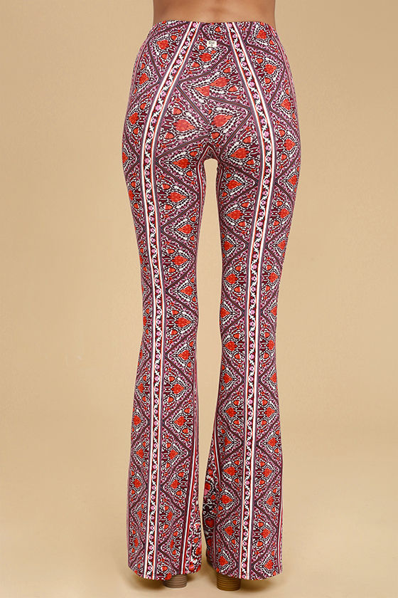 Billabong For Now Burgundy Print Flare Pants 3