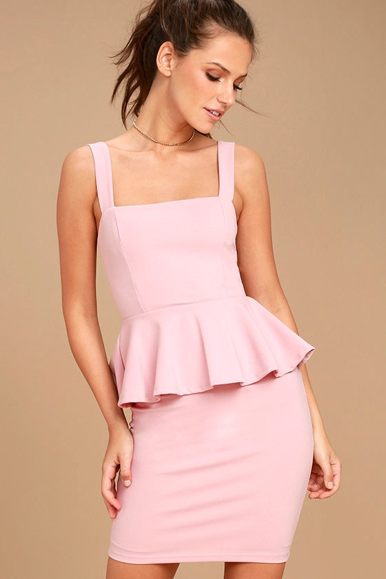 Sexy Blush Pink Dress - Peplum Dress - Blush Pink Peplum Dress ...