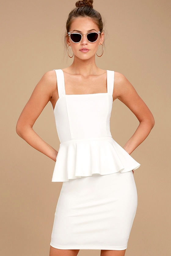 One More Kiss White Peplum Dress 1