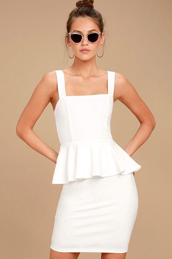 6d9e254f97 Sexy White Dress - LWD - Peplum Dress - White Peplum Dress -  54.00