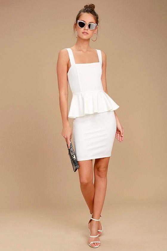 d6c842dec8e Sexy White Dress - LWD - Peplum Dress - White Peplum Dress -  54.00