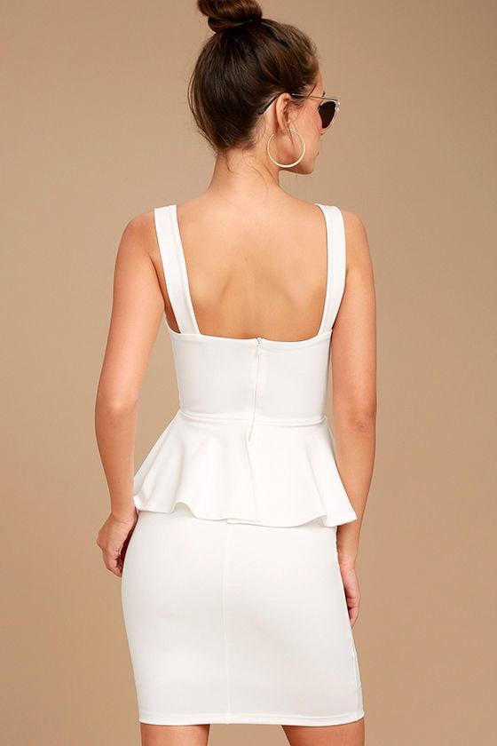 One More Kiss White Peplum Dress 3