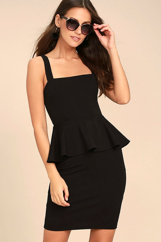2289a87b39 Black Peplum Dress With Sleeves - Dress Foto and Picture