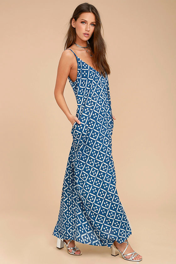Beautiful Day Blue and White Print Maxi Dress 2
