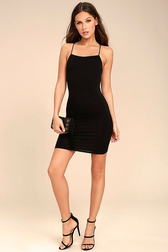 Looking Fine Black Bodycon Dress 2