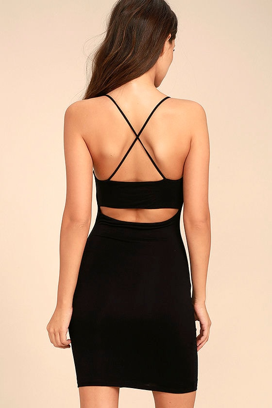 Looking Fine Black Bodycon Dress 4