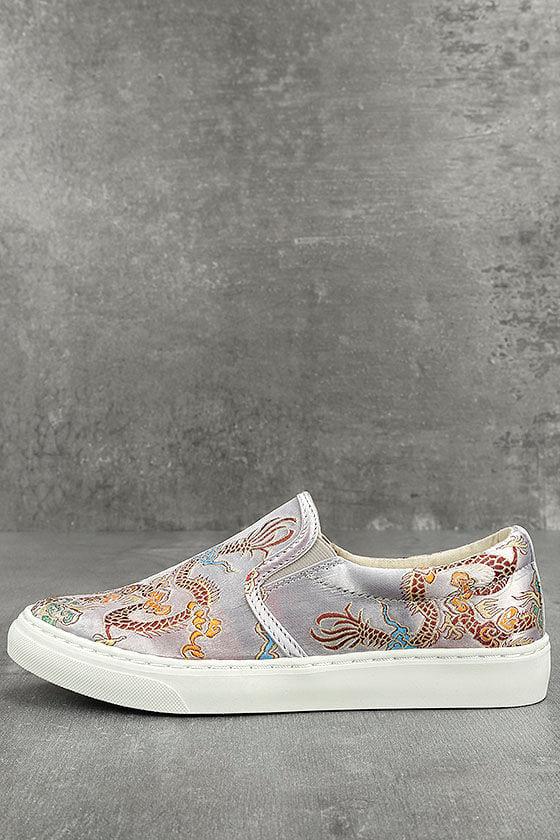 Trendy Silver Embroidered Sneakers Vegan Slip On Sneakers