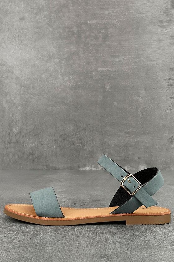 Cute Blue Sandals Vegan Nubuck Sandals Flat Sandals
