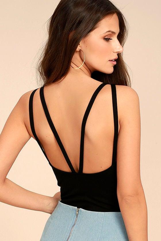 670441641b Sexy Black Bodysuit - Strappy Bodysuit - V-bar Bodysuit -  34.00