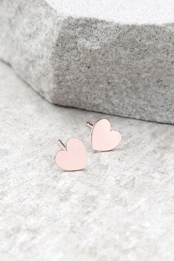 Heart's Desire Rose Gold Earrings 1