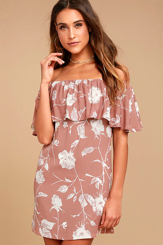 39fea7ee74b5 Roe + May Ravello Dress - Blush Pink Floral Print Dress - Off-the-Shoulder  Dress