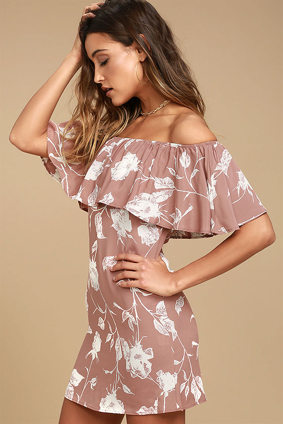 Roe + May Ravello Blush Pink Floral Print Off-the-Shoulder Dress 2