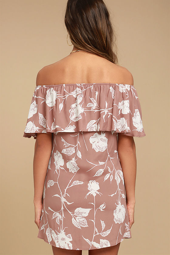 Roe + May Ravello Blush Pink Floral Print Off-the-Shoulder Dress 3