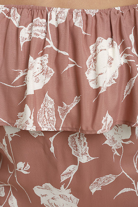 Roe + May Ravello Blush Pink Floral Print Off-the-Shoulder Dress 4