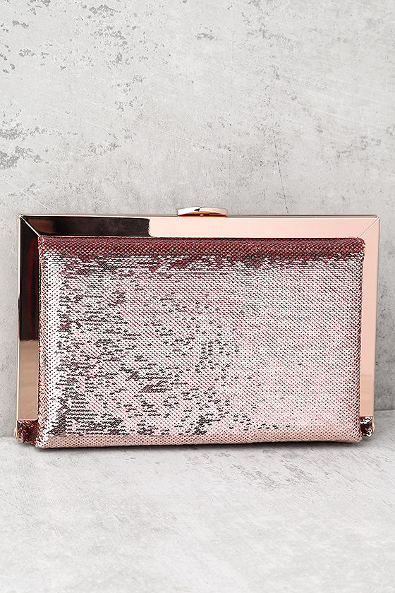 Charm and Desire Rose Gold Sequin Clutch 1