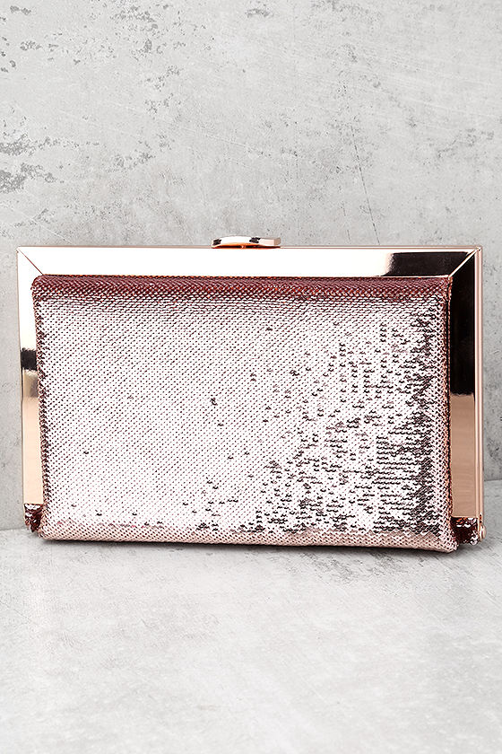 Charm and Desire Rose Gold Sequin Clutch 2