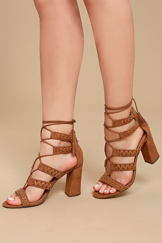 Report Myra Tan Suede Lace-Up Heels 1