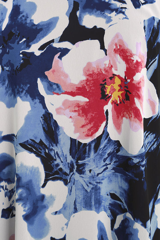 Here and Luau Navy Blue Floral Print Swing Dress 4