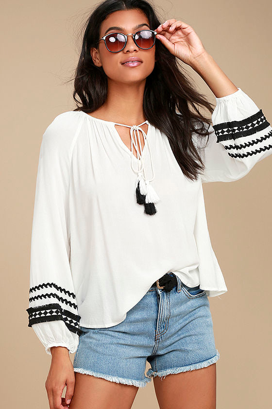 Fiesta Beach White Long Sleeve Top 1