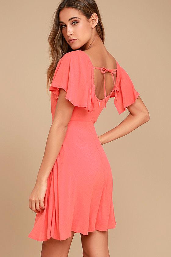 Black Swan Cameron Dress - Coral Pink Skater Dress - Flutter ...