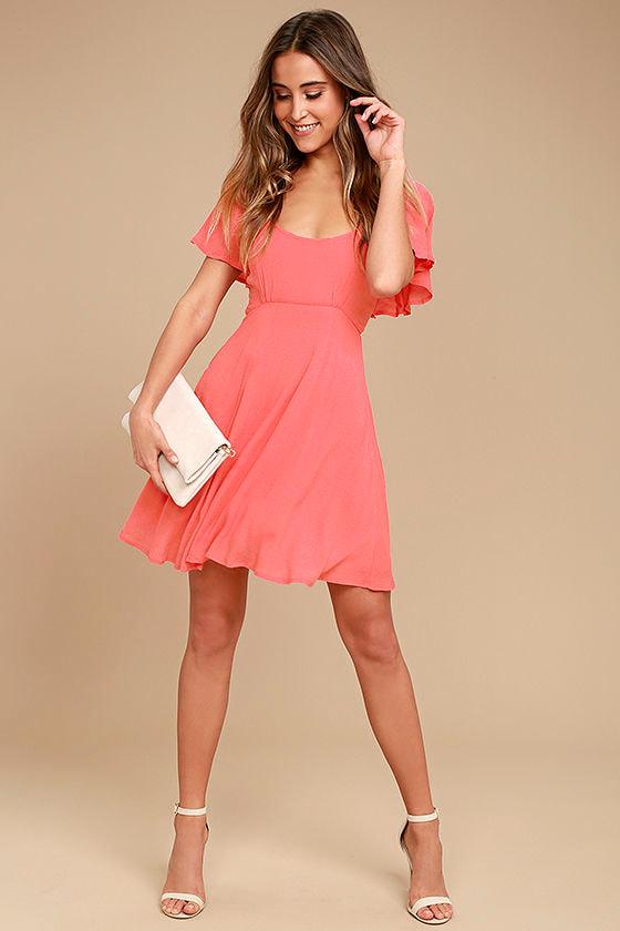 5d57b902152e Black Swan Cameron Dress - Coral Pink Skater Dress - Flutter Sleeve ...